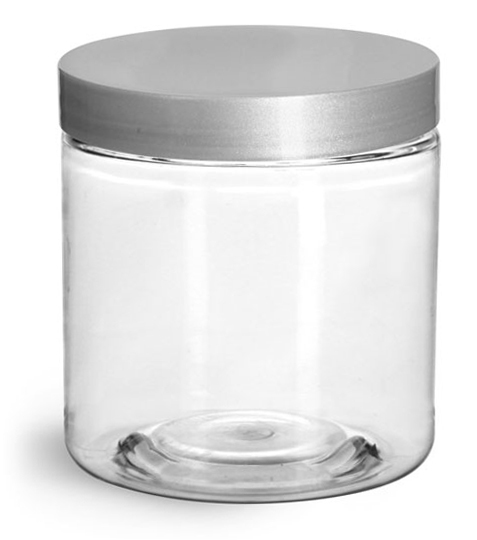 8 oz Clear PET Straight Sided Jars w/ Silver Smooth Lined Caps