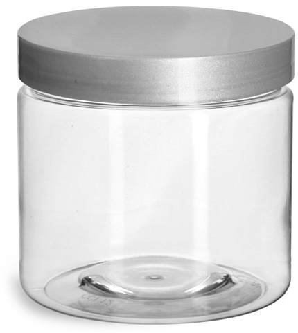 16 oz Clear PET Straight Sided Jars w/ Silver Smooth Lined Caps