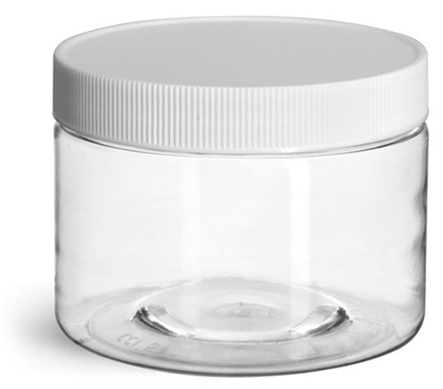 12 oz Clear PET Jars w/ White Ribbed Caps