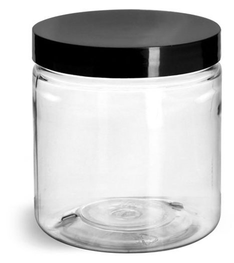 8 oz Clear PET Jars w/ Black Smooth Plastic Lined Caps