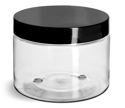 12 oz Clear PET Jars w/ Black Smooth Plastic Lined Caps