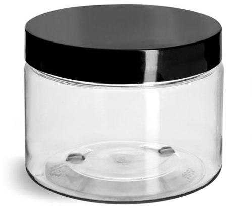 Clear PET Jars w/ Black Smooth Plastic Lined Caps