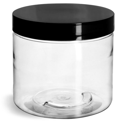16 oz Clear PET Jars w/ Black Smooth Plastic Lined Caps