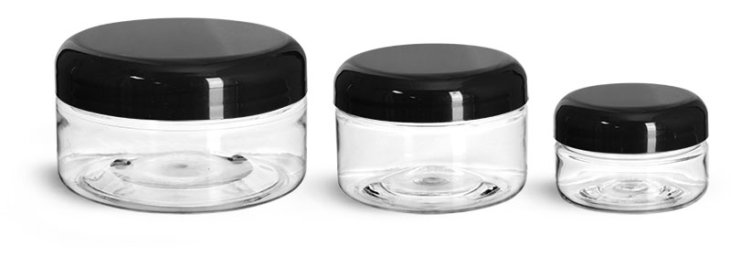 PET Plastic Jars, Clear Heavy Wall Jars w/ Black Smooth Lined Plastic Dome Caps