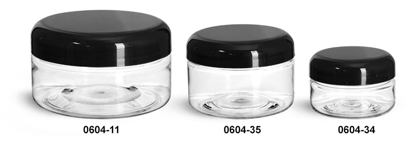 Plastic Jars, Clear PET Heavy Wall Jars w/ Black Smooth Lined Plastic Dome Caps