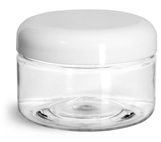 4 oz Plastic Jars, Clear PET Heavy Wall Jars w/ Lined White Plastic Dome Caps
