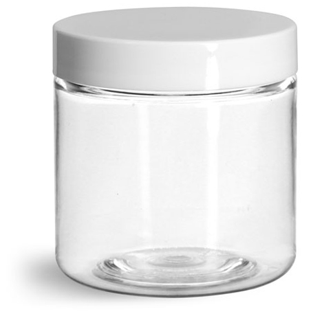 4 oz Clear PET Straight Sided Jars w/ White Smooth Plastic Lined Caps