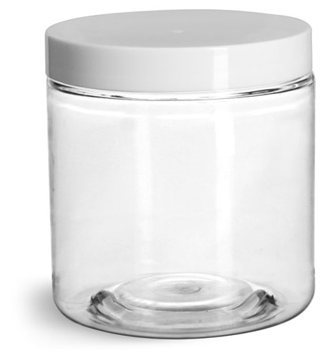 Clear PET Straight Sided Jars w/ White Smooth Plastic Lined Caps