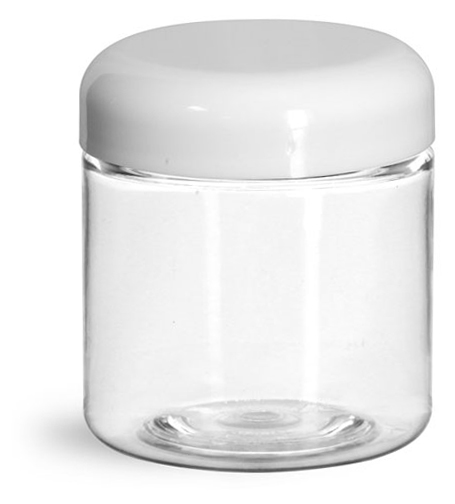 4 oz Plastic Jars, Clear PET Straight Sided Jars w/ White Lined Dome Caps