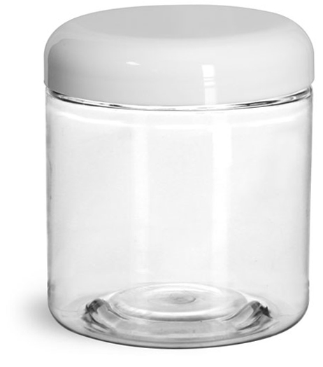 Plastic Jars, Clear PET Straight Sided Jars w/ White Lined Dome Caps