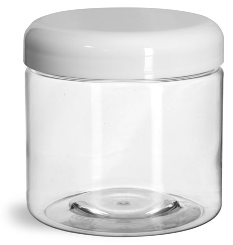 16 oz Plastic Jars, Clear PET Straight Sided Jars w/ White Lined Dome Caps