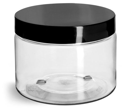 12 oz Clear PET Straight Sided Jars w/ Black Smooth Plastic Lined Caps