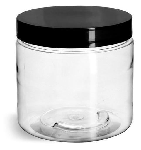 Clear PET Straight Sided Jars w/ Black Smooth Plastic Lined Caps