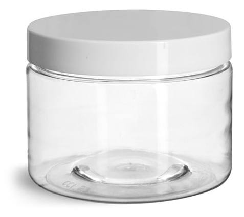 12 oz Clear PET Straight Sided Jars w/ White Smooth Plastic Lined Caps