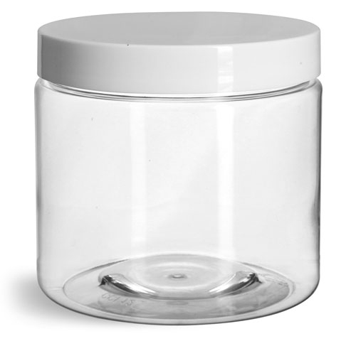 16 oz Clear PET Straight Sided Jars w/ White Smooth Plastic Lined Caps