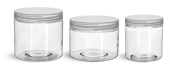 PET Plastic Jars, Clear Straight Sided Jars w/ Natural Smooth Unlined Caps