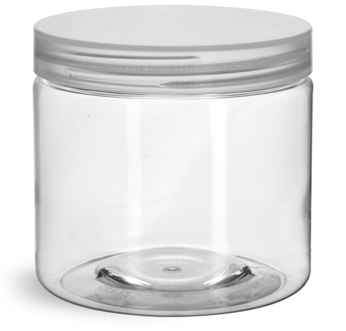16 oz Clear PET Straight Sided Jars w/ Natural Smooth Unlined Caps