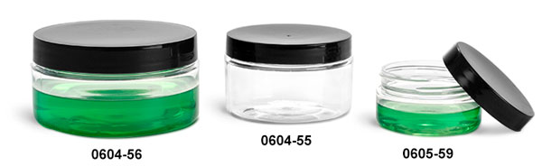 Plastic Jars, Clear PET Heavy Wall Jars w/ Black Smooth Lined Caps
