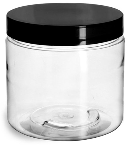 16 oz Plastic Jars, Clear PET Straight Sided Jars w/ Black Smooth Induction Lined Caps