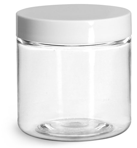 4 oz Plastic Jars, Clear PET Straight Sided Jars w/ White Smooth Induction Lined Caps