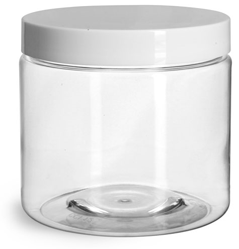 16 oz Plastic Jars, Clear PET Straight Sided Jars w/ White Smooth Induction Lined Caps