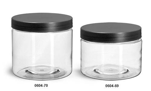 Plastic Jars, Clear PET Jars w/ Frosted Black Lined Caps