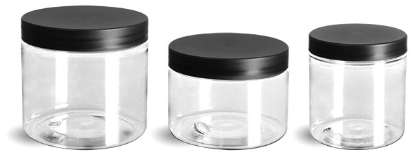 PET Plastic Jars, Clear Straight Sided Jars w/ Frosted Black Lined Caps