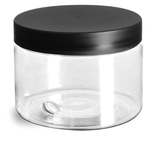 12 oz Plastic Jars, Clear PET Jars w/ Frosted Black Lined Caps