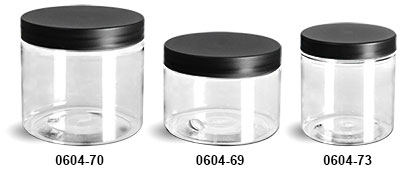 Plastic Jars, Clear PET Straight Sided Jars w/ Frosted Black Lined Caps