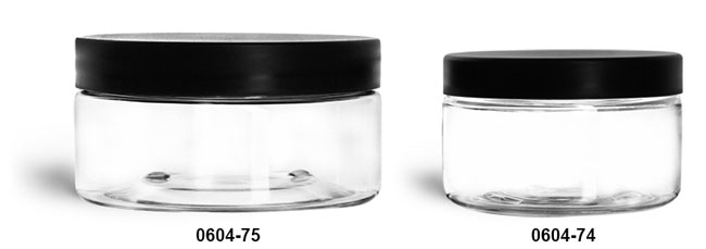 Plastic Jars, Clear PET Heavy Wall Jars w/ Frosted Black Lined Plastic Caps
