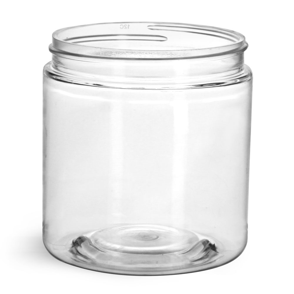 8 oz Clear PET Straight Sided Jars (Bulk), Caps Not Included