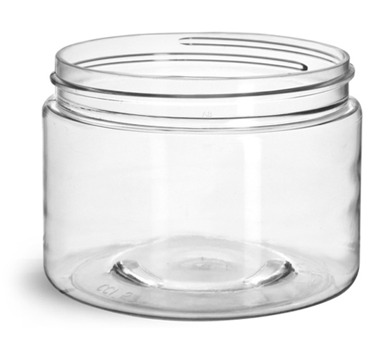 12 oz Clear PET Straight Sided Jars (Bulk), Caps Not Included