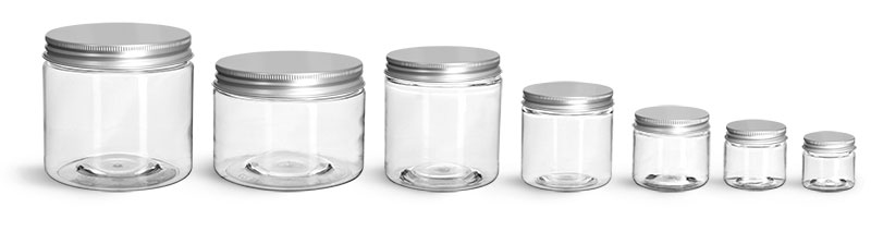 PET Plastic Jars, Clear Straight Sided Jars w/ Lined Aluminum Caps
