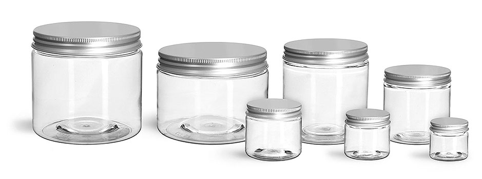 Plastic Jars, Clear PET Straight Sided Jars w/ Lined Aluminum Caps