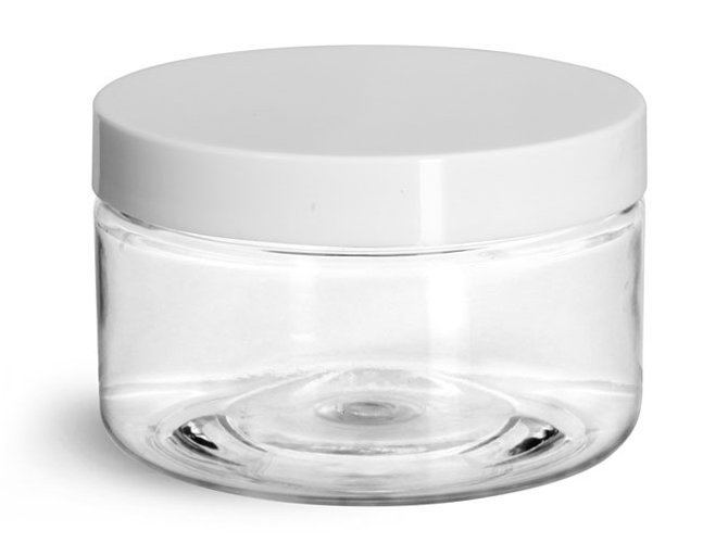 4 oz Clear PET Heavy Wall Jars w/ White Smooth Lined Plastic Caps