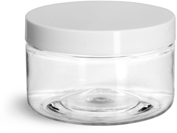 Clear PET Heavy Wall Jars w/ White Smooth Lined Plastic Caps