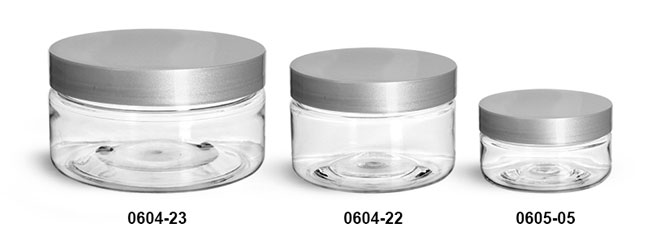 Plastic Jars, Clear PET Heavy Wall Jars w/ Silver Smooth Lined Caps