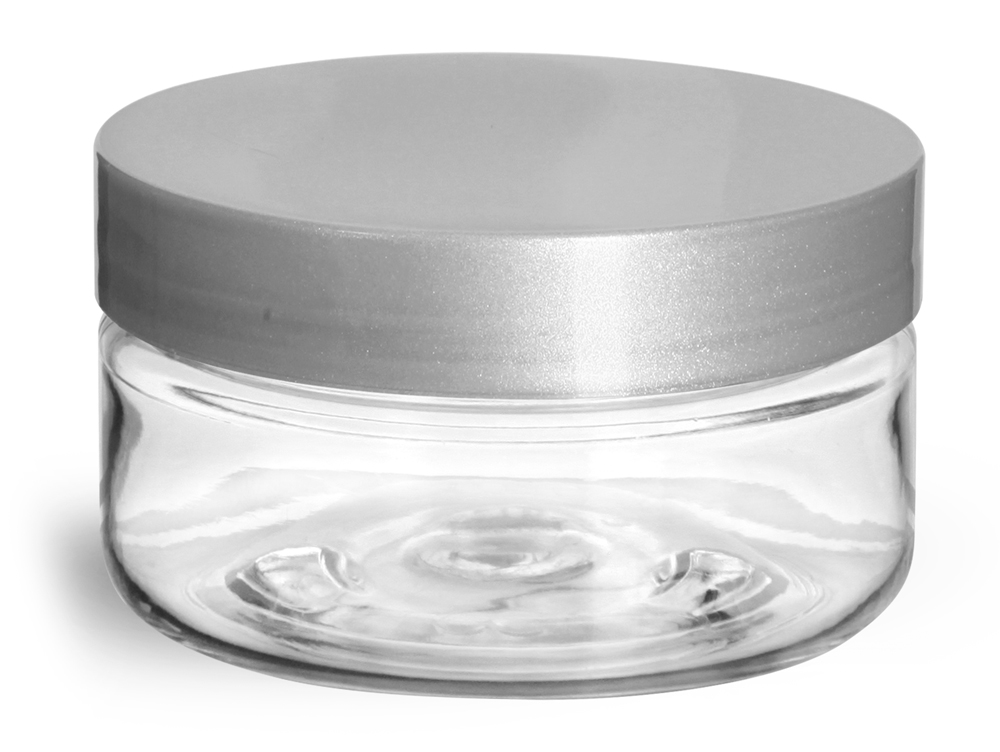 Clear PET Heavy Wall Jars w/ Silver Smooth Lined Caps