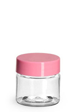 PET Plastic Jars, Clear Straight Sided Jars w/ Pink Smooth Plastic Lined Caps
