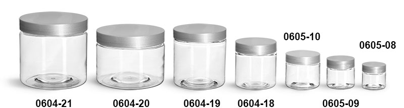 Plastic Jars, Clear PET Straight Sided Jars w/ Silver Smooth Lined Caps