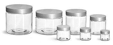 PET Plastic Jars, Clear Straight Sided Jars w/ Silver Smooth Lined Caps