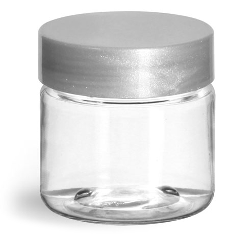 1 oz Clear PET Straight Sided Jars w/ Silver Smooth Lined Caps