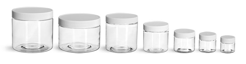 PET Plastic Jars, Clear Straight Sided Jars w/ White Ribbed Plastic Unlined Caps'