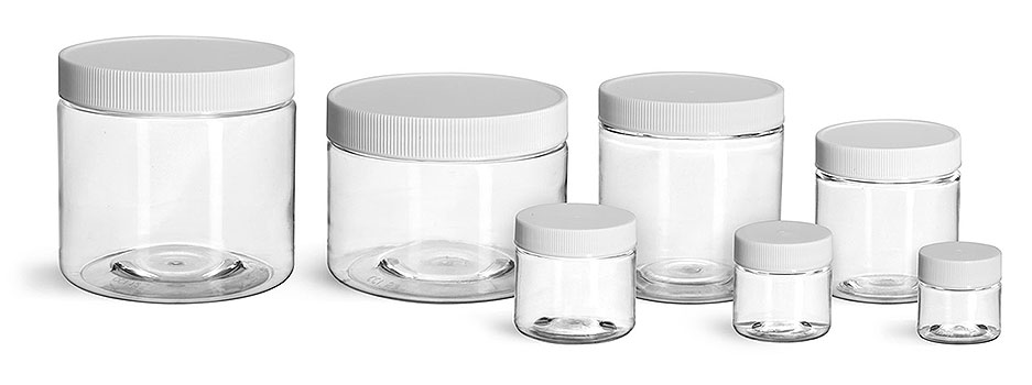 Plastic Jars, Clear PET Straight Sided Jars w/ White Ribbed Plastic Unlined Caps