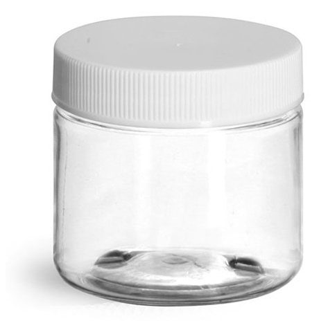 2 oz Clear PET Jars w/ White Ribbed Plastic Unlined Caps