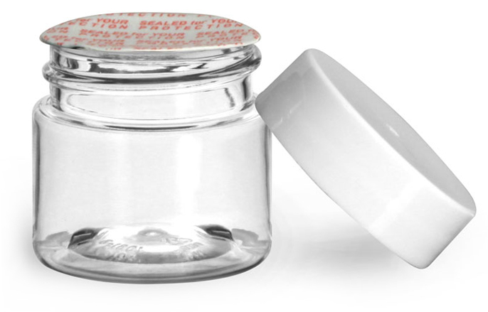 1/2 oz Plastic Jars, Clear PET Straight Sided Jars w/ White Smooth Induction Lined Caps