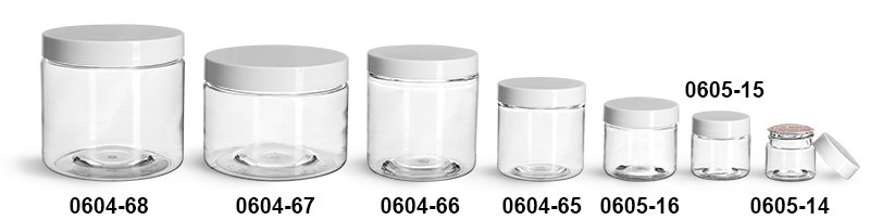 Plastic Jars, Clear PET Straight Sided Jars w/ White Smooth Induction Lined Caps