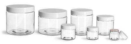 PET Plastic Jars, Clear Straight Sided Jars w/ White Smooth Induction Lined Caps