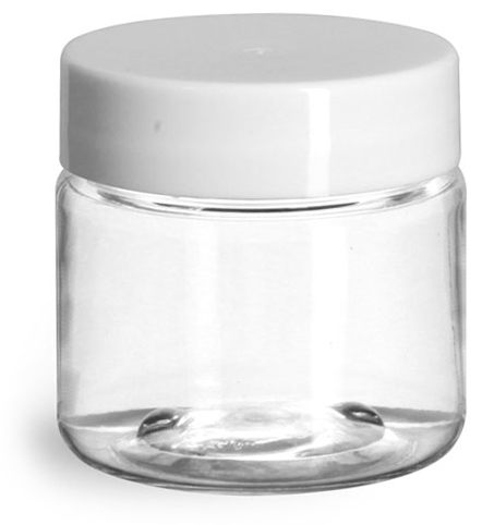 1 oz Plastic Jars, Clear PET Straight Sided Jars w/ White Smooth Induction Lined Caps
