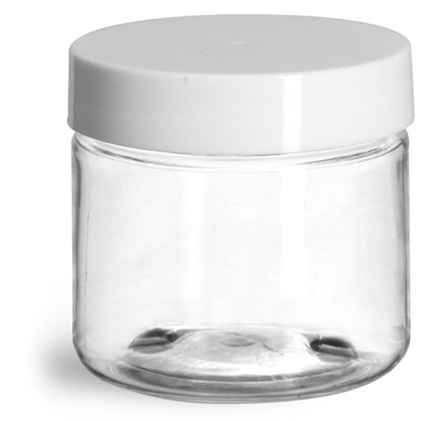 2 oz Plastic Jars, Clear PET Straight Sided Jars w/ White Smooth Induction Lined Caps